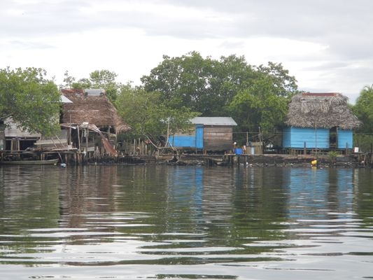 stilt houses in Changuinola seen from the boat