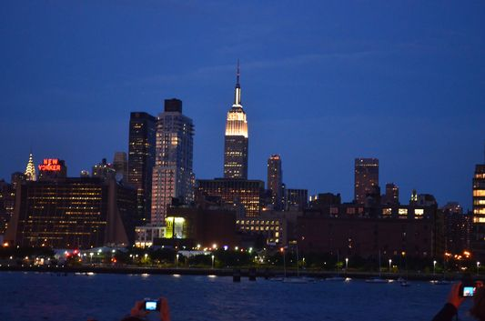 Empire State Building at night seen from Circle Line Cruise
