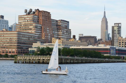 Empire State Building on the right from Circle Line Cruise thanks to CityPASS
