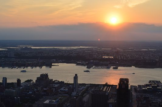 sunset above the Hudson River from Empire State Building