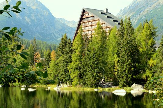 GREEN Strbske pleso in the High Tatras in Slovakia