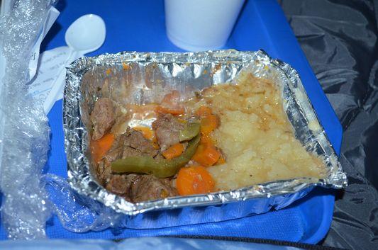yummy dinner on an Argentinian bus