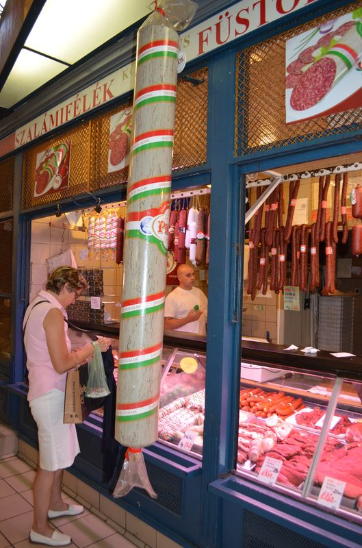 Hungarian sausages and meat in the Great Market Hall