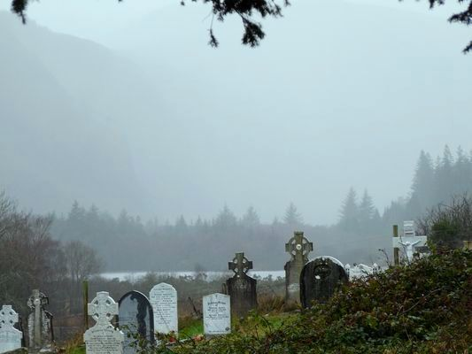 typical Irish weather at Glendalough cemetery