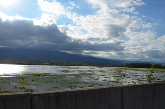 clouds setting down on Lake San Jacinto