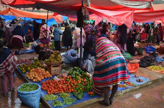 fresh vegetables at Tarabuco market