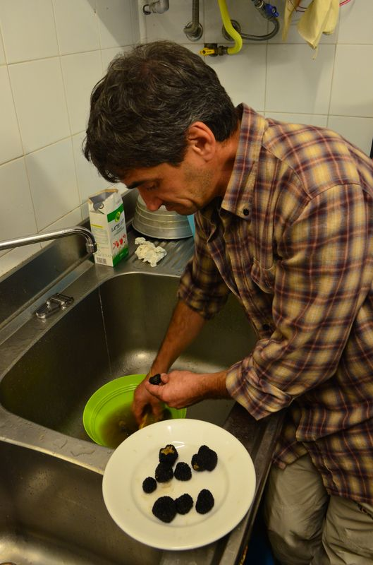 cleaning up the black truffles