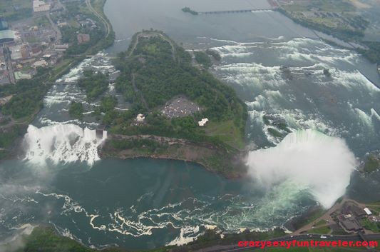 stunning Niagara Falls from helicopter