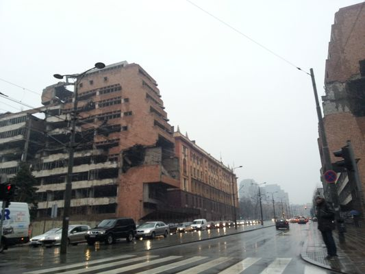 a bombarded building in Belgrade city centre
