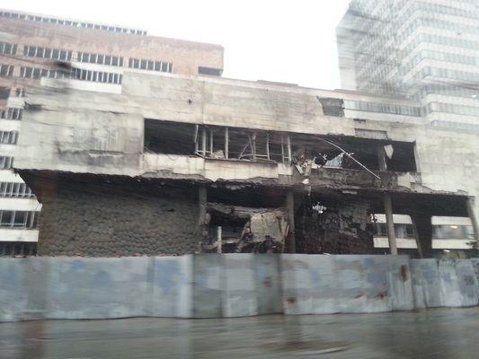 a devastated building in Belgrade