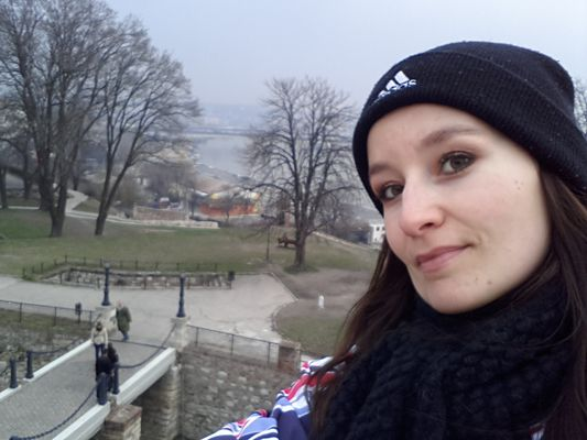 crazy sexy fun traveler walking around the Belgrade Fortress