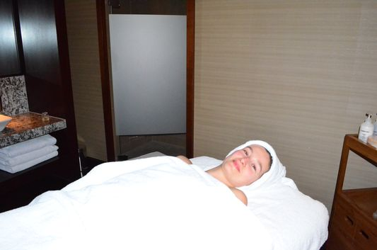 ready for face and neck massage in Shine spa in Sheraton Bratislava