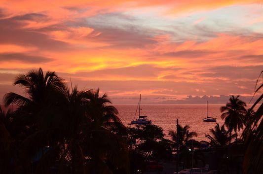 St. Kitts sunset over the Caribbean sea