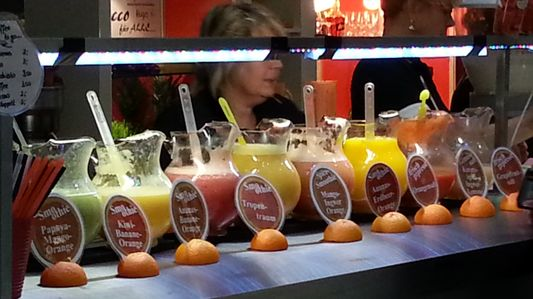 drinking fresh juices at ITB