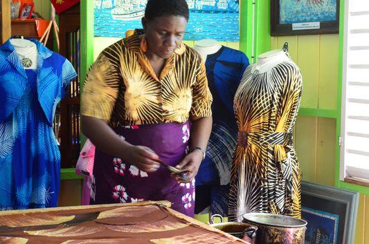 making batik at Caribelle Batik on St. Kitts