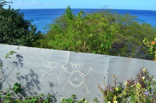 odd painting looking like old Carib petroglyphs