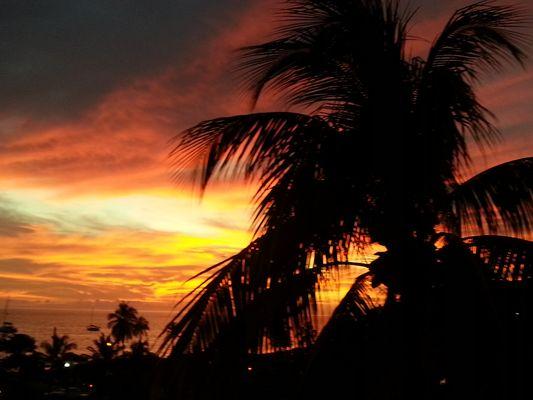 orange sunset from Timothy Beach resort on St. Kitts