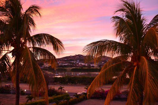 pinky sunset from my Timothy Beach Resort balcony