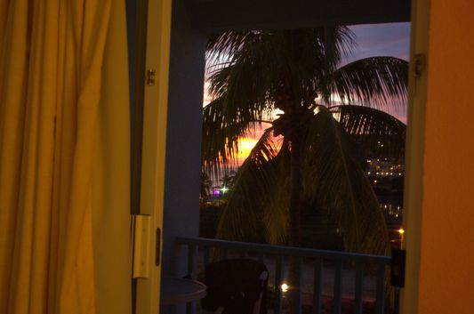 sun setting down watched from my room at Timothy Beach Resort