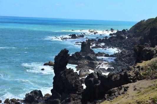 volcanic Black Rocks on the Atlantic side of St. Kitts