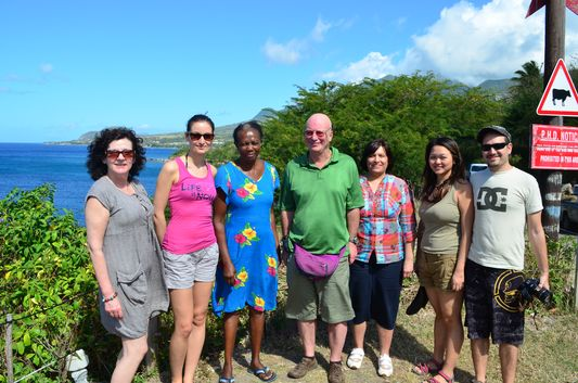 with guys and Muriel at the viewpoint on St. Kitts