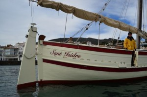 Charter Sant Isidre waiting for us in the Bay of Cadaques