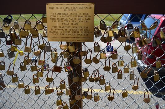 Love Lock Bridge outside of the Napa Valley Wine Train