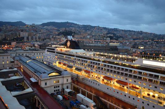MSC Opera in Genoa port seen from MSC Preziosa