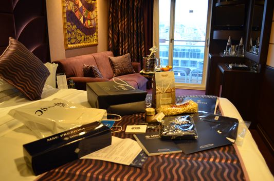 Presents waiting for me in my MSC Yacht club cabin