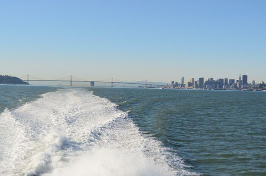 San Francisco Bay bridge from BayLink ferry