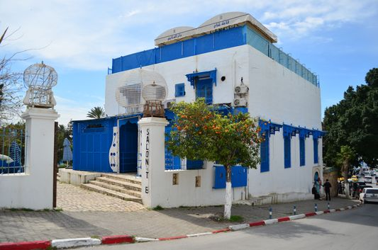 a traditional white and blue house in Sidi Bou Said