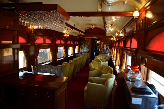 beautifully decorated Wine Train Lounge car