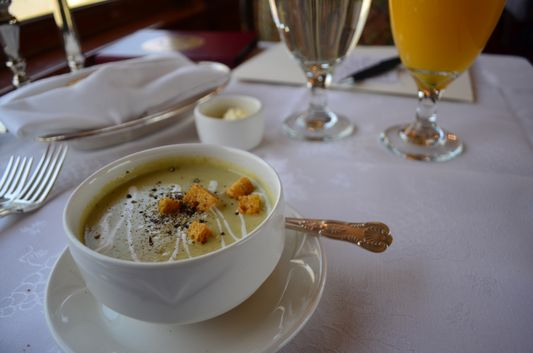 broccoli cream soup on Napa Valley Wine Train