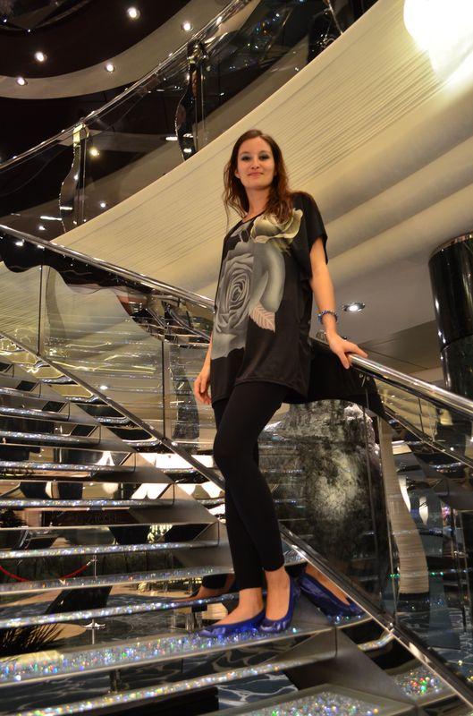 crazy sexy fun traveler on the Swarowski crystal staircase