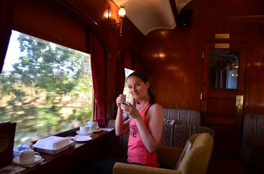 enjoying my cup of green tea on Napa Valley Wine Train