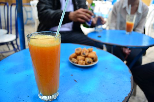 fresh orange juice with local sweets in Sidi Bou Said