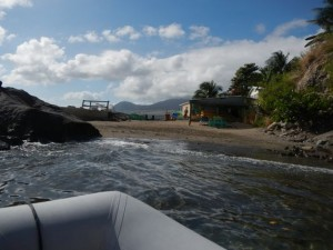 leaving the beach to do snuba diving on St. Kitts