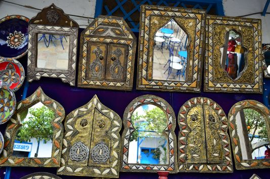 many mirrors at Sidi Bou Said streets