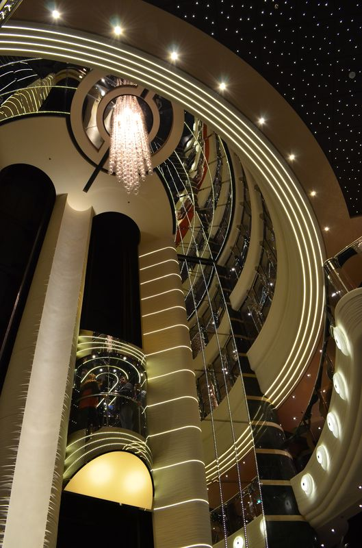 one of the 26 lifts and some of the 66,000 lights on board MSC Preziosa