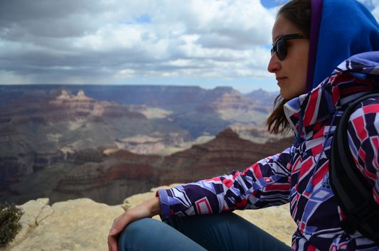 reflecting over life at Yavapai point Grand Canyon