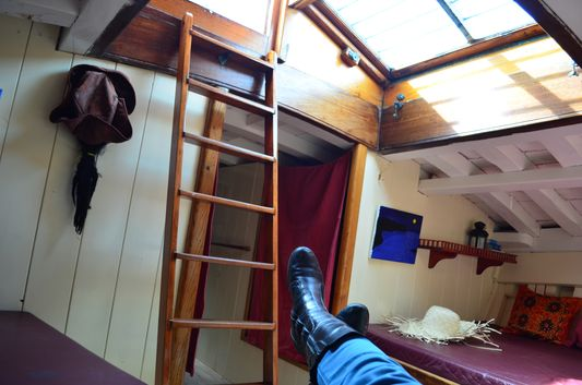 taking a nap in the Sant Isidre cabin