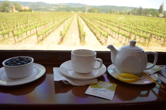 tea time on Napa Valley Wine Train