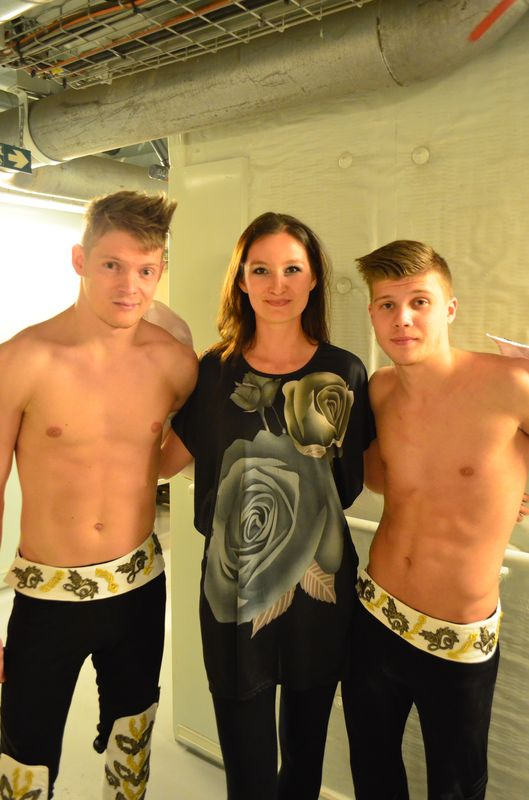 the Ukrainian acrobats after their performance on MSC Preziosa