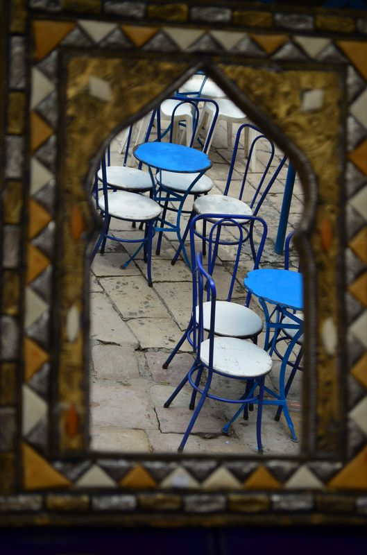 white and blue chairs in Sidi Bou Said restaurants