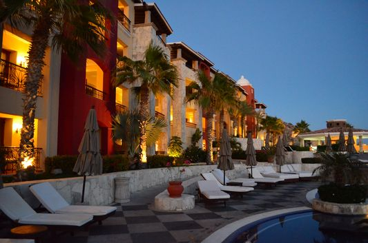 Hacienda Encantada at night