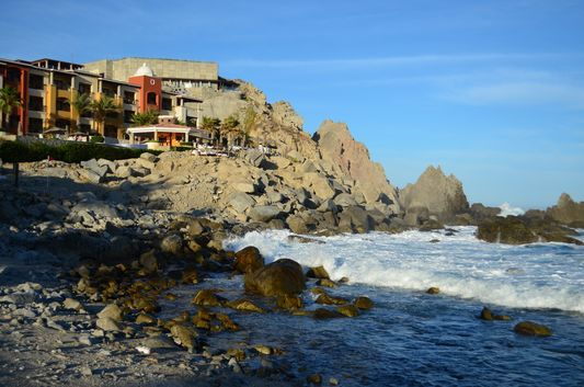 Hacienda Encantada from the rocky beach