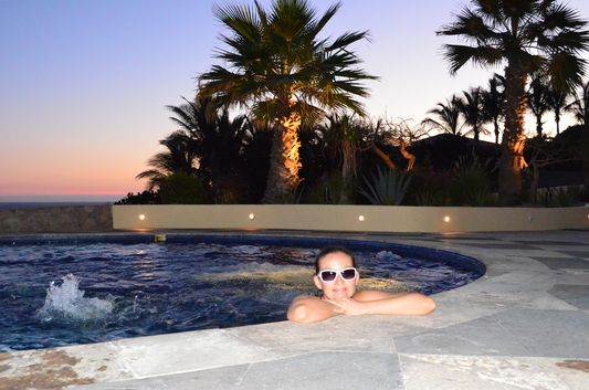 Hacienda Encantada jacuzzi time at sunset