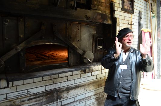 John showing us 130 year old oven at Italian French Bakery