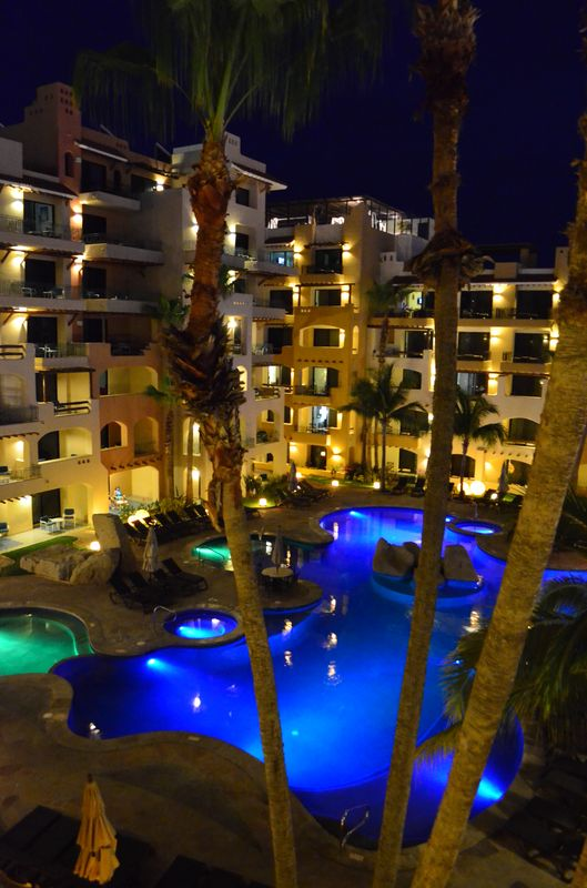 Marina Fiesta main swimming pool at night