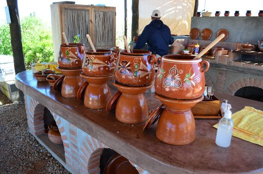 Mexican lunch served in traditional pottery